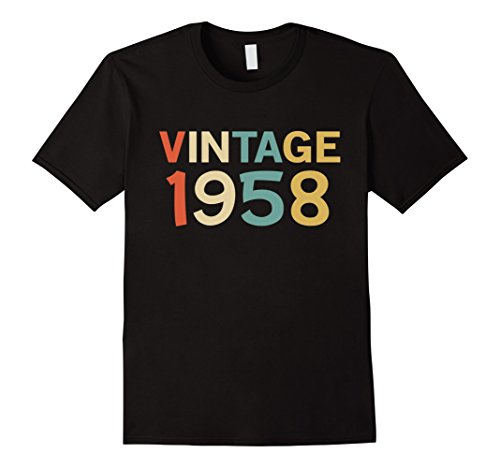 Classic 50's Retro Shirt (Mens Funny Vintage 1958 Birthday Gift T-Shirt Large Black)