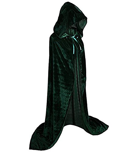 JoinPro Unisex Halloween Hooded Cape Vampire Demon Devil Pirate Cosplay Costume Dress Velvet Cloak for Adults and Kids (L/59