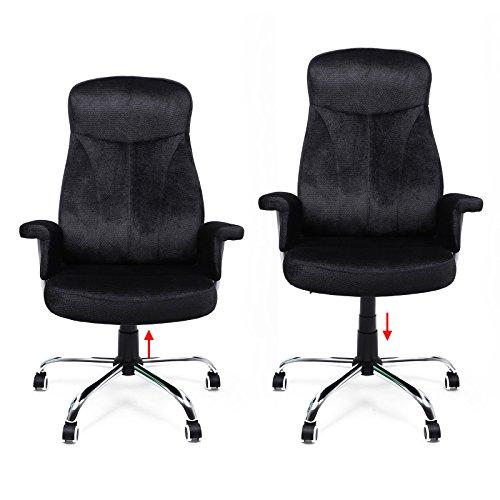 Songmics Bürostuhl Relaxstuhl mit verstellbarer Rückenlehne Samtbezug schwarz OBG41B -