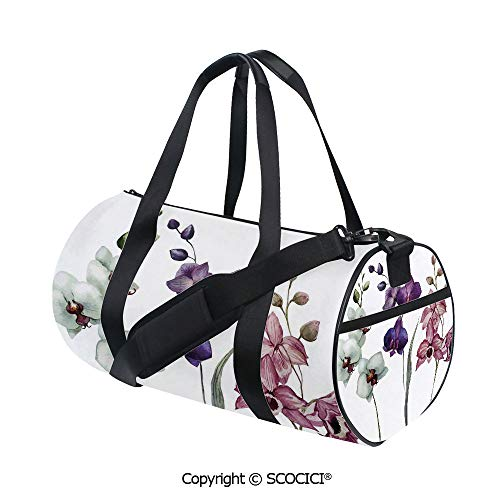 (Nylon Ribbon Sports Backpack,Different Kind of Orchid Flower on Clear Background Exotic Blossoms ArtSports and Fitness Essentials,(17.6 x 9 x 9 in) White Pink Violet)