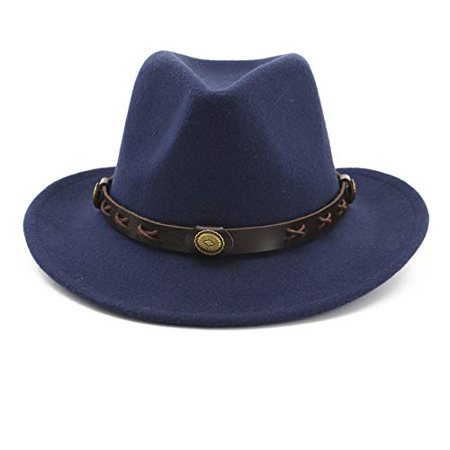 Fange Men&Women's Woolen Wide Brim Fedora Hat Classic Jazz Cap with Leather Belt Buckle Decoration (Blue)