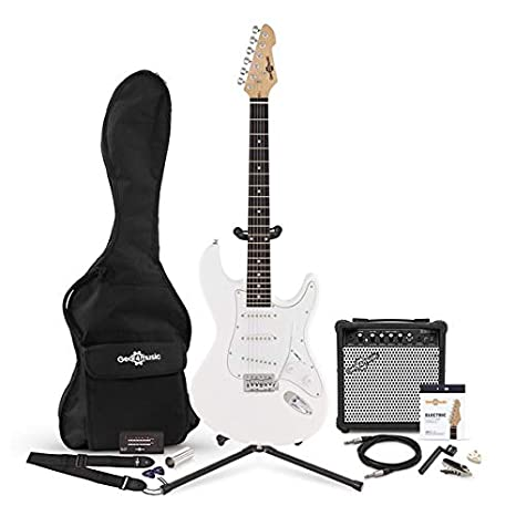 Guitarra Electrica LA + Pack Completo - Blanco: Amazon.es ...