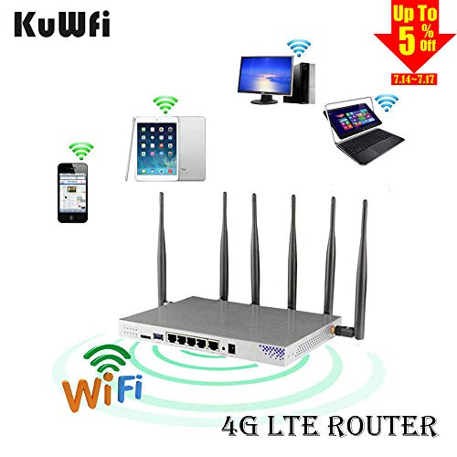 KuWFi 4G LTE 802.11AC 1200Mbps Dual Band 2.4-5.0GHz Wireless WiFi Router MT7621A chipset Gigabit Port OpenWrt Wireless Router with sim Card Slot with 6X 5dbi asntenna (US Version) for USA/Canada/MX (4g Router With Sim Slot And Ethernet Port)