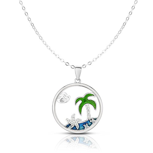 Unique Royal Jewelry Solid Sterling Silver Cubic Zirconia Palm Tree Adjustable Length Disk Pendant Necklace (Natural Silver)