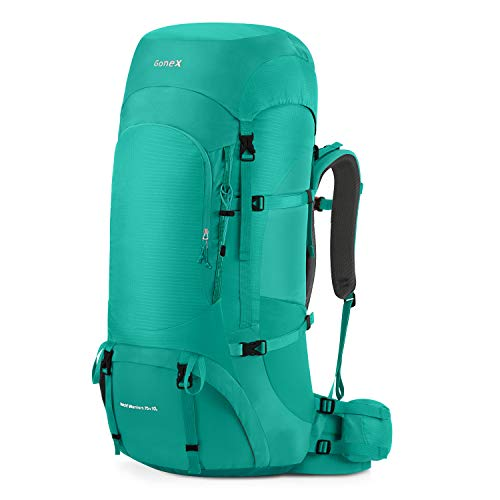 Gonex 70L/80L Internal Frame Backpack for Backpacking Hiking Traveling Mountaineering Rain Cover Included Peacock Blue