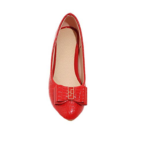 Low Pull Red Womens Toe Shoes Heels Pumps AmoonyFashion Round PU On Solid WxPYnZw