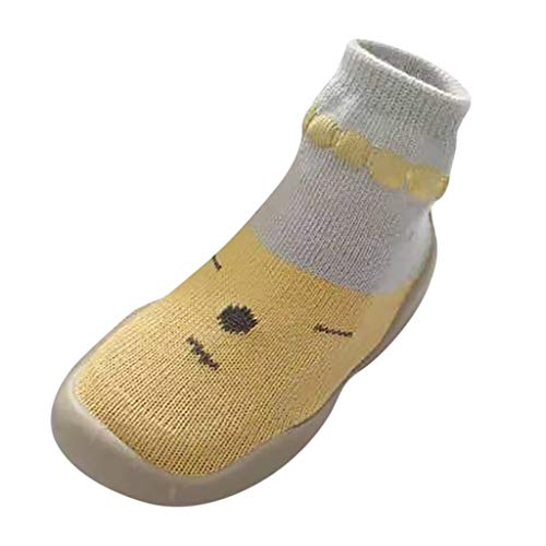 Kids Crib Sock Shoes Baby Girls Boys Knit Warm Slippers Anti-Slip First Walkers for 1-5 Years Newborn Soft Sole As Gift Yellow