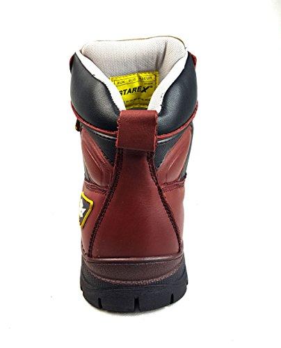 Starex | impermeabile | |fg dita in acciaio da trekking di sicurezza stivali in pelle A905profondo rosso