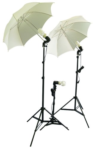 Cowboystudio Photography/Video Studio Umbrella Continuous Lighting Kit With Three Day Light CFL Bulbs & Two Diffuser Umbrellas For Product, Portrait, and Video Shooting by CowboyStudio