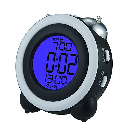 Looovehome 4 Twin Bell Alarm Clock Loud Led Digital Alarm Clock Time Date Display,2 Sets of Alarm Clocks,Blue Light & Snooze Function AAA for Adults/Kids/Heavy Sleepers Home & Office Black