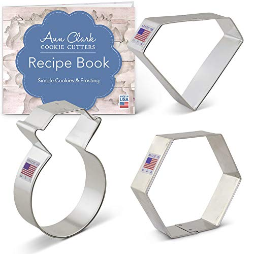 Gems and Jewels Cookie Cutter Set with Recipe Booklet - 3 piece - Ring, Gem and Gemstone - Ann Clark - USA Made Steel
