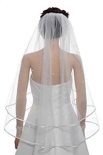 2T 2 Tier 1/4″ Ribbon Crystal Circular Veil – White Fingertip Length 36″ V530