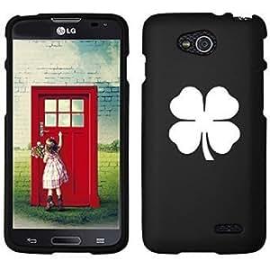 LG Optimus L90 D405 D410 D415 Snap On 2 Piece Rubber Hard Case Cover Four Leaf Clover Shamrock (Black)