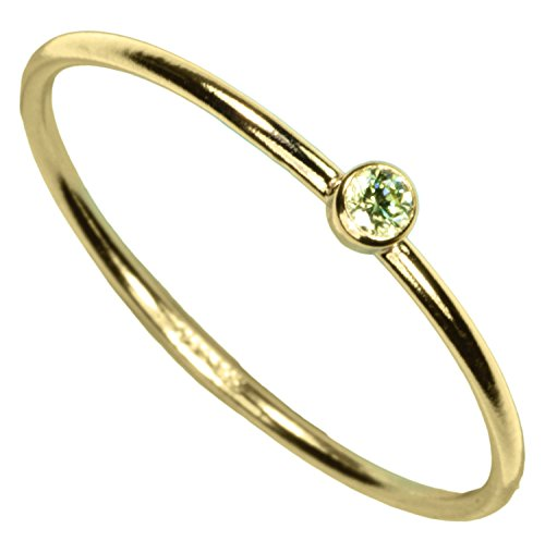 uGems 14kt Gold Filled Lime Green CZ Stacking Rings Size 6 ()