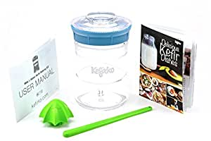 (Light Blue) - KEFIRKO - Light Blue Kefir Fermenter Kit, as seen on Kickstarter - Easily Brew Your own Milk Kefir Grains and Water Kefir Grains