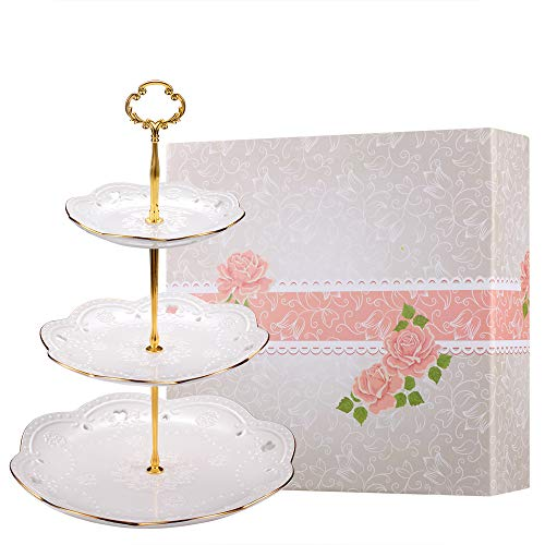 - BonNoces 3-Tier Porcelain Embossed Cupcake Stand - Pure White Rimmed with Gold Dessert Cake Stand - Pastry Serving Tray Platter for Tea Party, Wedding and Birthday