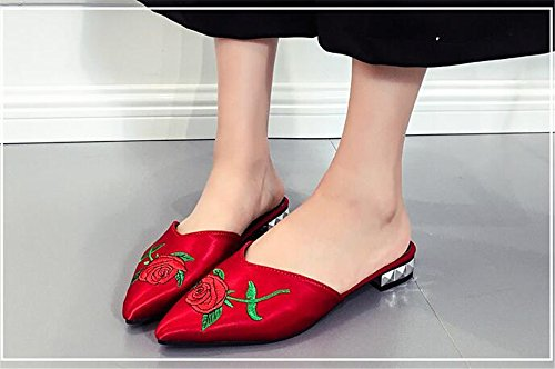 Female 1 Ladies Footwear Shoes Women Comfortable Casual MOREMOO Outside Mules Toe Pointed Red Slippers Summer Flat qPwYZg