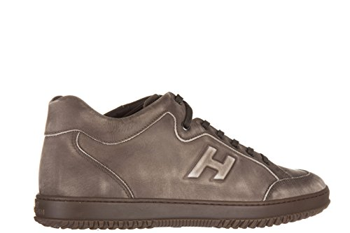 Hogan chaussures baskets sneakers homme en cuir h168 mid cut h rilievo marron