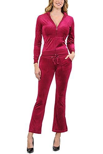 Red Velour Hoodie - ViiViiKay Women's Soft Velour Tracksuit Athletic Zip Up Hoodie & Sweat Pants Set 001_Ruby L