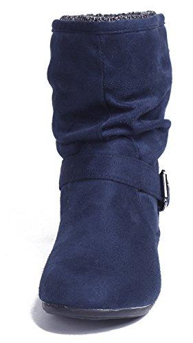 ... AgeeMi Shoes Damen Schnalle Rund Schließen Zehe Flache Halbschaft  Stiefel Marine ...