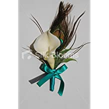 Gorgeous Ivory Calla Lily & Peacock Feather Wedding Buttonhole