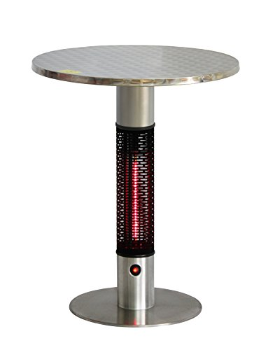 Ener-G+ HEA-115J88-GOLD Infrared Electric Heater, Bistro Table, Portable, 360 Degree Radiant, Safe to Touch, Water/Dust Resistant Silent, Full Body Heat Coverage, Stainless Steel, Aluminum, Silver