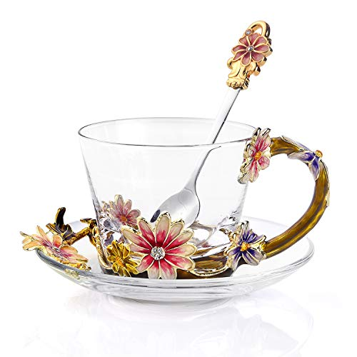 Luxury Coffee Cup Enamel Glass Coffee Mugs Heat-Resistant Crystal Glass 8(oz)with Spoon and Dish Handmade Coffee Mugs Lead Free Pink Flower Creative Gift Christmas Present Birthday Gift Ideas for Mam