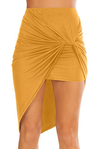 Womens Drape up Stretchy Asymmetrical High Low Short Mini Bodycon Pencil Skirt Mustard Medium Womens Medium Heel Short