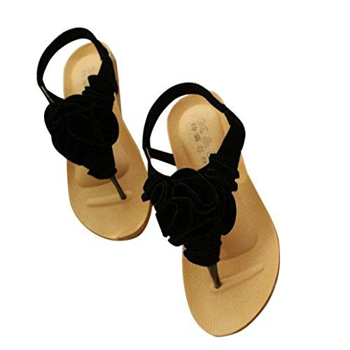 Ouneed ® Zapatos de mujer Bohemia flor dulce sandalias Clip del dedo del pie playa Negro