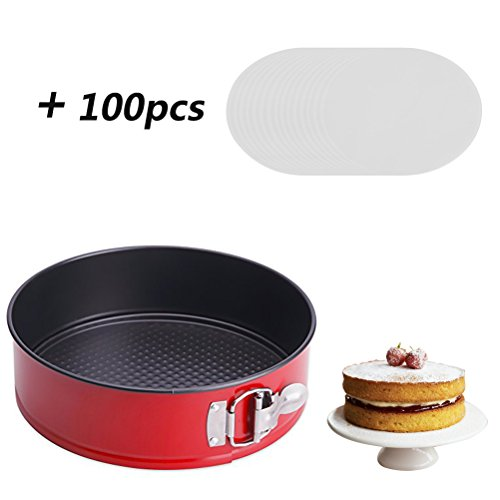 7 Inch Springform Pan Non-Stick for Instant Pot 5, 6, 8 Quart - 7'' Cheesecake Pan Round Cake Baking Pan Leakproof (Red) with 100pcs Parchment Paper liners