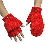 Boutique Men Women Solid Color Fleece Winter Fingerless Gloves Convertible Flap Cover Warm Mitten Flip Cover