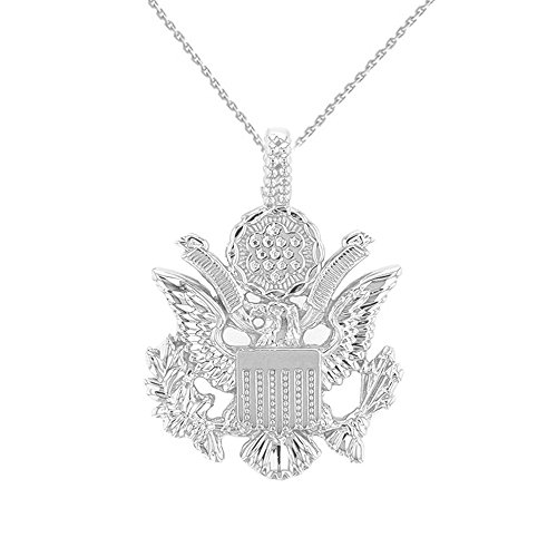 10k Gold Eagle Seal Pendant - United States Great Seal in 10k White Gold Pendant Necklace, 18