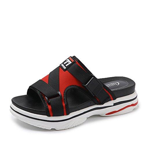 Women Slippers Flip Flops Peep Toe Sandals Slippers Sandals Platform Comfortable Summer Shoes(Red 36/5.5 B(M) US Women)