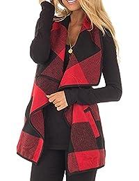 Womens Fashion Lapel Open Front Sleeveless Plaid Vest Cardigan Coat with Pocket