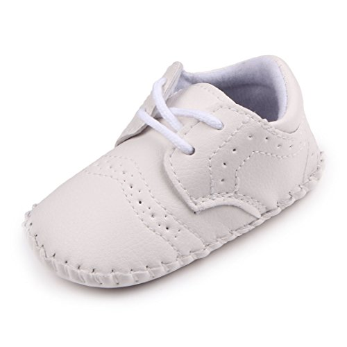 MiYuebb Handmade Baby Moccasins Hard Sole Anti Skip Laced Infant Casual Shoes (0-6 Months, White)