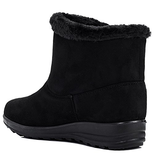 Black OCEANSPY Ankle Style SPYLOVEBUY Flat Synthetic Women's Boots Suede Shoes Fur 8qnWBOqZ