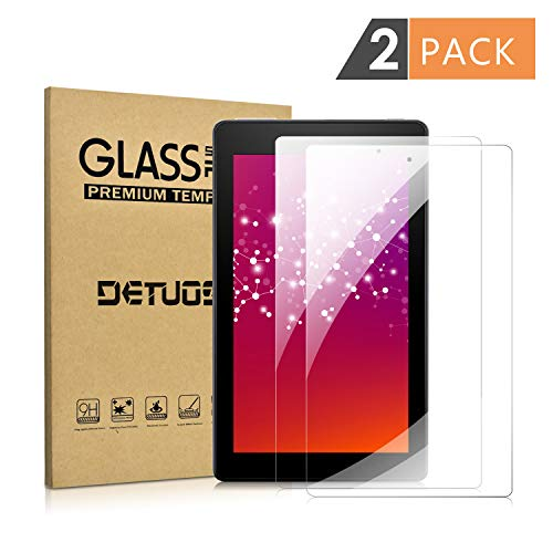 [2 Pack] Screen Protector for Amazon Fire 7 (9th/7th Generation, 2019/2017 Release), DETUOSI All-New Kindle Fire 7 inch Tablet Tempered Glass Film [Anti-Fingerprint] [Bubble Free] [Anti-Scratch]