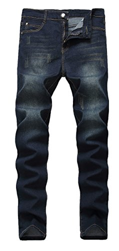 FEESON Men's Slim Fit Washed Ripped Stretchy Regular Casual Denim Jeans Navy Blue