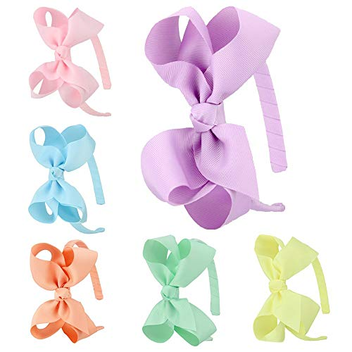 7Rainbows Girls Boutique Grosgrain Ribbon Headband with Bows(6 pieces a set) (FS007-2)
