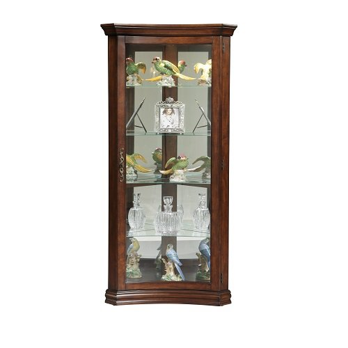 Pulaski Concave Corner Curio, 28 by 16 by 72-Inch, - Curio Curved Cabinet