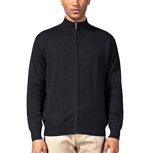 Kallspin Men's Relaxed Fit Solid Full Zip Cardigan Sweaters (Black, XXL) ()