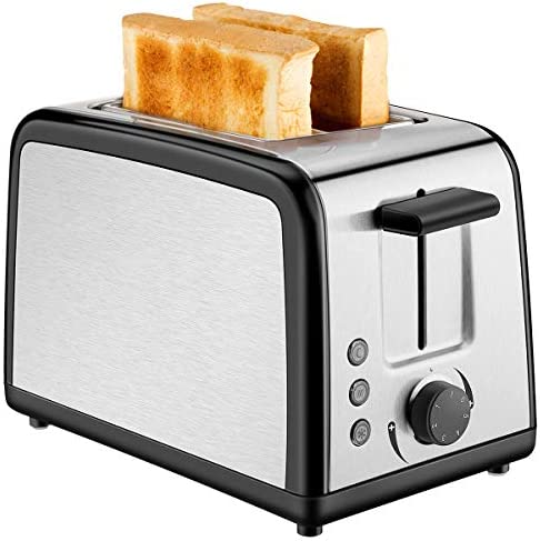 Toaster 2 Slice,Stainless Steel Toasters with 7 Bread Shade Settings, Defrost Reheat Cancel Function, Compact LED Display with Removable Crumb Tray