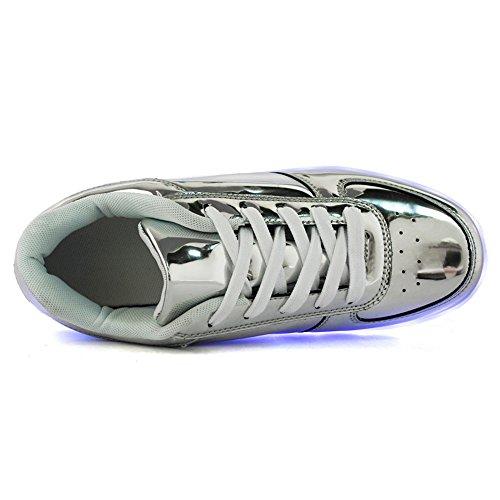 Socone Light Up 8 Colores Usb Carga Led Mujeres Y Hombres Zapatos Intermitentes Sneakers Plata