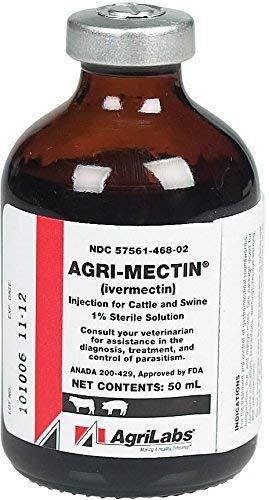 AgriMectin Ivermectin Parasiticide Injection 50 ML 1 Percent Dewormer Injection for Cattle and Swine. Includes 5 Needles and Syringes 18G x 1 1/2'' 3 ML