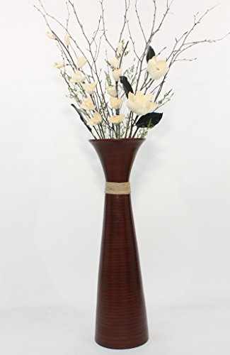 GreenFloralCrafts 36 in.Plantation Brown Bamboo Floor Vase - & Cream White Magnolias Floral Kit (Requires - Magnolia Cream Floral