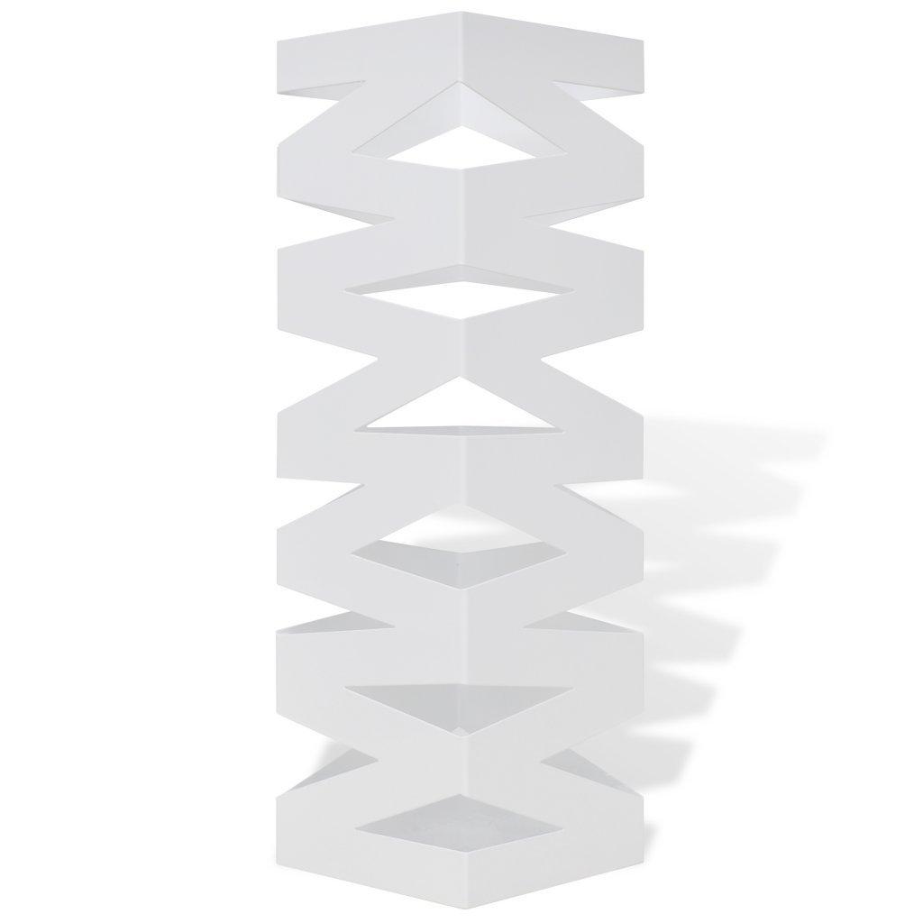 Festnight Portaombrelli e bastoni da Passeggio Bianco Quadrato Acciaio 48, 5 cm