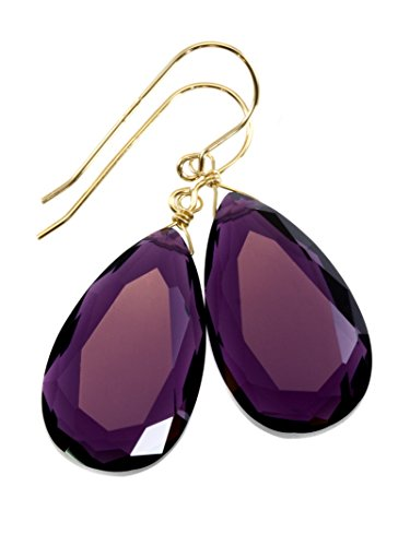 14k Yellow Gold Filled Purple Simulated Amethyst Earrings Faceted Large Pear Teardrops Simple Briolette Dangle - Dangle Briolette Amethyst