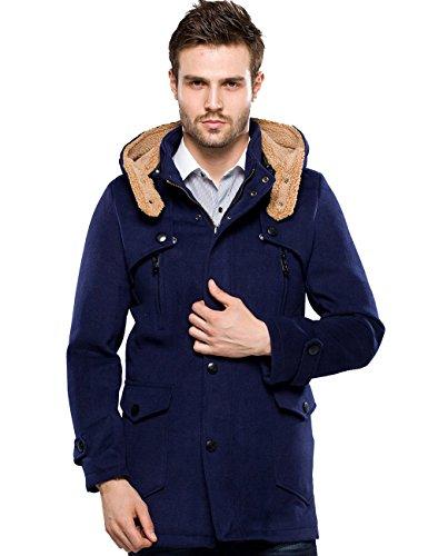 SSLR Men's Winter Woolen Pea Coat with Hood (X-Small, Blue)