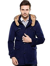 SSLR Men's Winter Slim Fit Woolen Pea Coat with Hood
