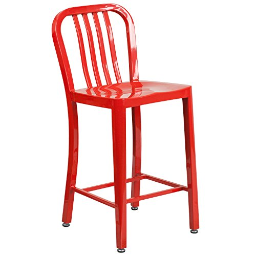 24'' High Red Metal Indoor-Outdoor Counter Height Stool with Vertical Slat Back